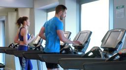 Fit people running on treadmills Footage