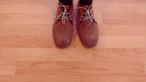 Hipster man shoes on wooden floor Live Action