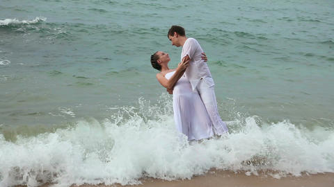 Couple in ocean Footage