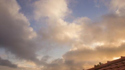 4 K Dawn 30 Pan Timelapse Rooftop Cloudscape Footage