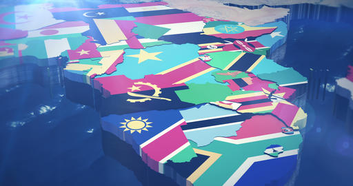 4K Country Flag map of Africa Animation