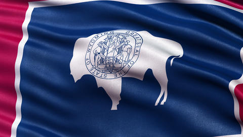 4K Wyoming state flag seamless loop Ultra-HD Animation
