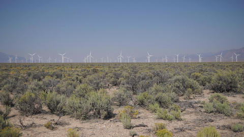 Pan Up of a windfarm in the desert Footage