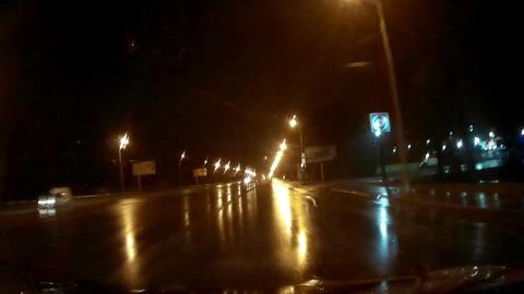 Night Rainy Road And Lights Footage