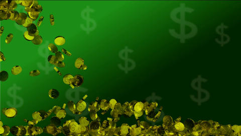 money falling on green background Animation