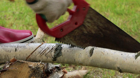 Hand sawing a wood close up - sound of sawing 3 Footage