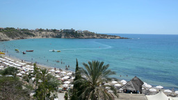 View of the beach Coral Bay in Cyprus with different activities, time lapse Footage
