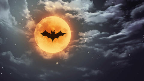 bat Halloween moon and dark sky Animation