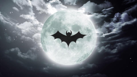 bat Large Halloween moon dark sky Animation