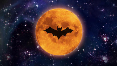 bat moon in the space large size Animation