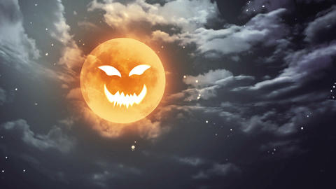 pumpkin face Halloween moon and dark sky Animation