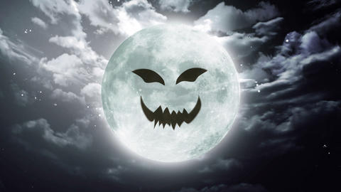 pumpkin face Large Halloween moon sky Animation