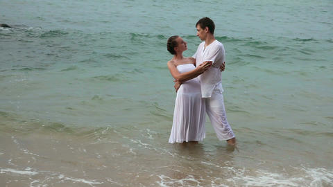 Couple in ocean Footage