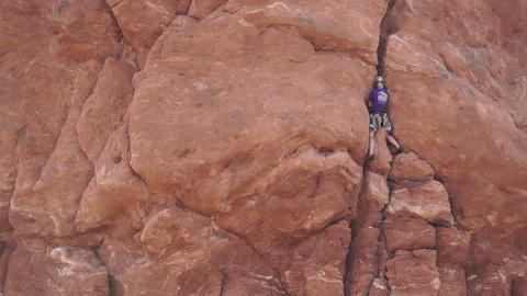 View of a Rock Climber in Arches National Park Live Action
