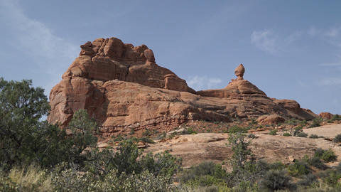 Pan Down of a Rock Formation in Arches National Park Footage