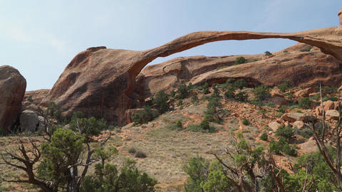 Right Pan Shot of Landscape Arch in Arches National Park Footage