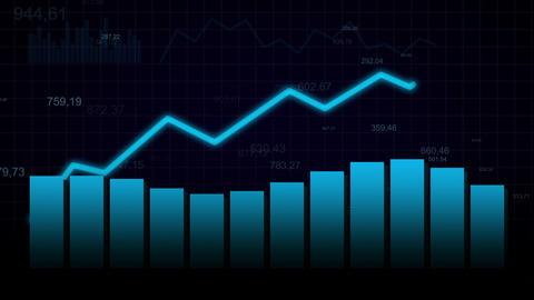 Growing chart on dark blue bg Animation