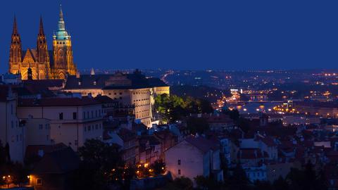 Dusk over Prague. Time Lapse 4K Footage