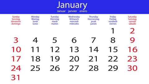 Flipping calendar - white-blue Animation
