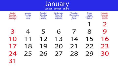 Flipping calendar - white-blue Animation