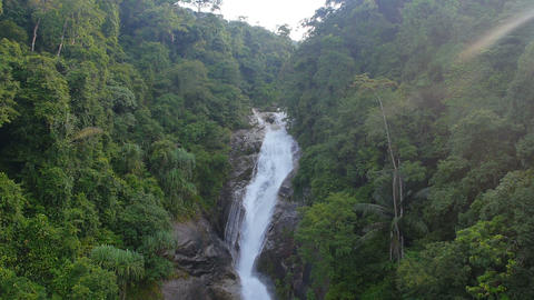 Aerial View of the Rainbow Waterfall (Sai Rung Waterfall) Footage
