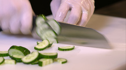 Cook Sliced Cucumber On The Board Close-up stock footage