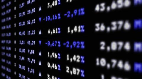 Blue stock market board moving up, animation Animation