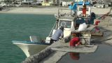 Port in Okinawa Islands 07 fisherman Footage