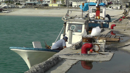 Port in Okinawa Islands 07 fisherman Stock Video Footage