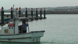 Port in Okinawa Islands 13 fisherman boat Stock Video Footage