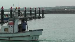 Port in Okinawa Islands 13 fisherman boat Stock Video Footage