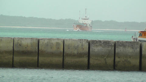 Port in Okinawa Islands 30 slightly shaky Stock Video Footage