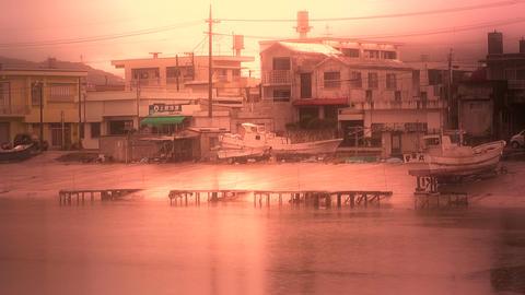 Port in Okinawa Islands stylized 01 Stock Video Footage