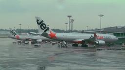 Singapore Changi Airport 01 jetstar Stock Video Footage