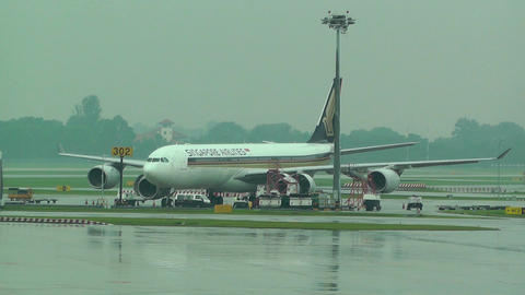 Singapore Changi Airport 05 singapore airlines Stock Video Footage