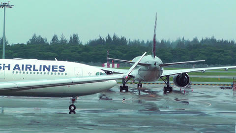 Singapore Changi Airport 09 turkish airlines Stock Video Footage