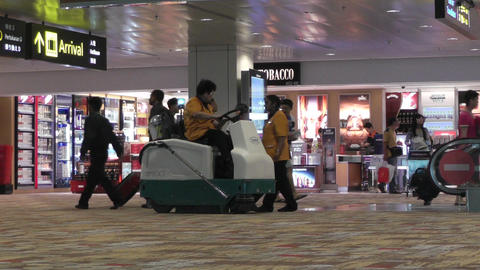 Singapore Changi Airport 11 passengers and airport staff... Stock Video Footage