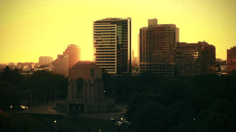 Sydney Anzac Memorial Hyde Park sunrise 70s old film... Stock Video Footage