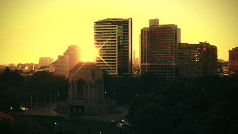 Sydney Anzac Memorial Hyde Park sunrise 70s old film stylized Footage