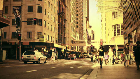 Sydney Cambridge Street 70s old film stylized Stock Video Footage