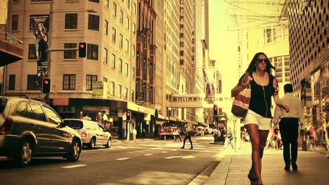 Sydney Cambridge Street 70s old film stylized Stock Video Footage