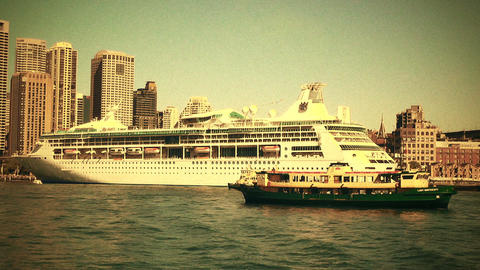 Sydney Circular Quay Port 70s old film stylized 01 Stock Video Footage