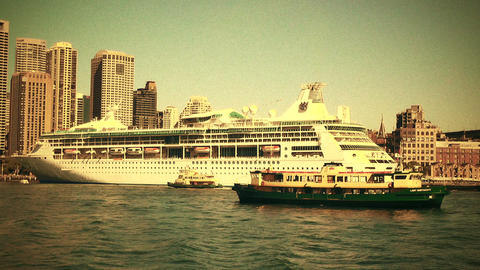 Sydney Circular Quay Port 70s old film stylized 01 Footage