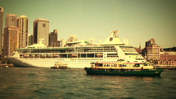 Sydney Circular Quay Port 70s old film stylized 01 Stock Video Footage