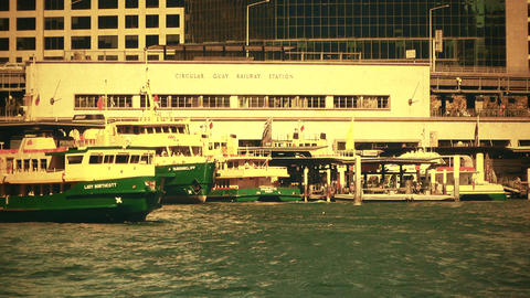Sydney Circular Quay Port 70s old film stylized 03 Footage