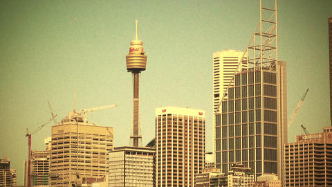 Sydney Downtown 70s old film stylized Footage