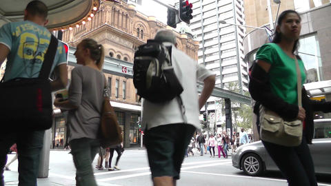 Sydney Downtown George Street 01 Stock Video Footage