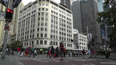 Sydney Downtown George Street 06 traffic Stock Video Footage