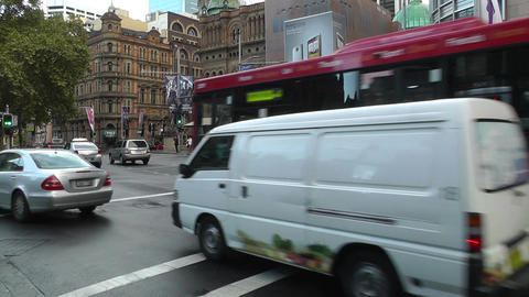 Sydney Downtown Park Street George Street traffic 01 Stock Video Footage