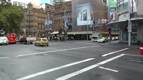 Sydney Downtown Park Street George Street traffic 01 Footage